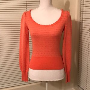 🌺free people coral sweater w/ grey polka dots🌺